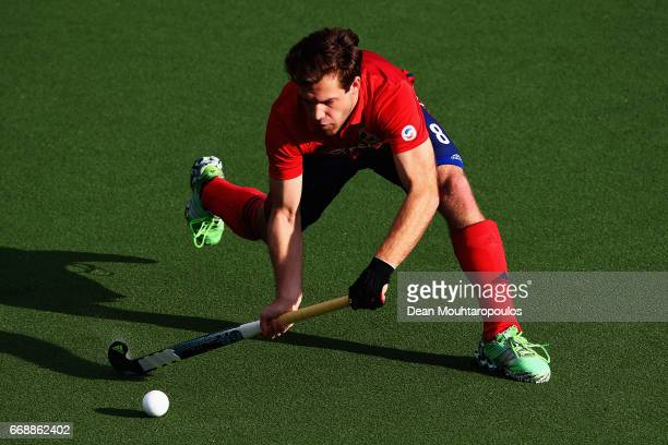 Philipp Huber of Mannheimer HC in action during the Euro Hockey League KO16 match between Mannheimer HC and Club Egara at held at HC OranjeRood on...