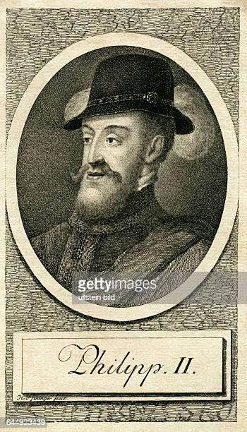 Philipp II. , König von Spanien , geboren 1527 in Valladolid , gestorben 1598 in Madrid , wahrscheinlich Kupferstich von H. Pfenninger , um 1740....