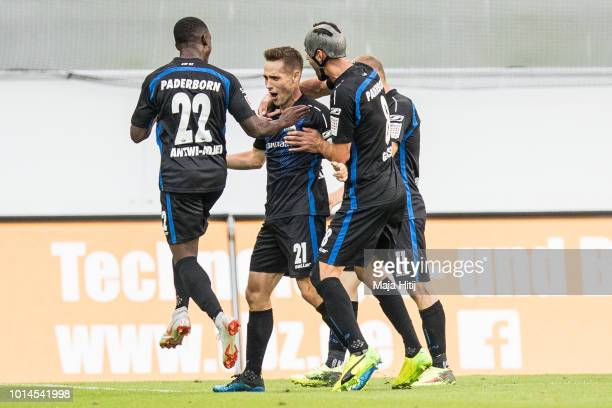 Philipp Klement of SC Paderborn celebrates with his team mates after scoring his teams second goal to make it 10 during the Second Bundesliga match...