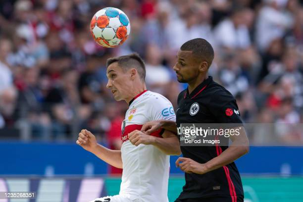 Philipp Klement of VfB Stuttgart and Djibril Sow of Eintracht Frankfurt battle for the ball during the Bundesliga match between Eintracht Frankfurt...