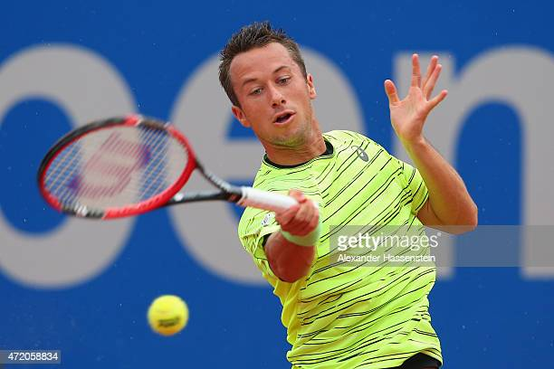 Philipp Klohlschreiber of Germany plays a fore hand during the finale match between Andy Murray of Great Britain and Philipp Kohlschreiber of Germany...