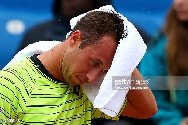 Philipp Klohlschreiber of Germany reacts during the finale match between Andy Murray of Great Britain and Philipp Kohlschreiber of Germany of the BMW...