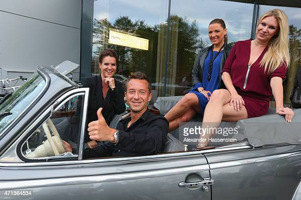 Philipp Kohlschreiber arrives with Katarina Witt Simone Ballack and Magdalena Brzeska in a historical BMW car for the Iphitos Tennis Club 100 years...