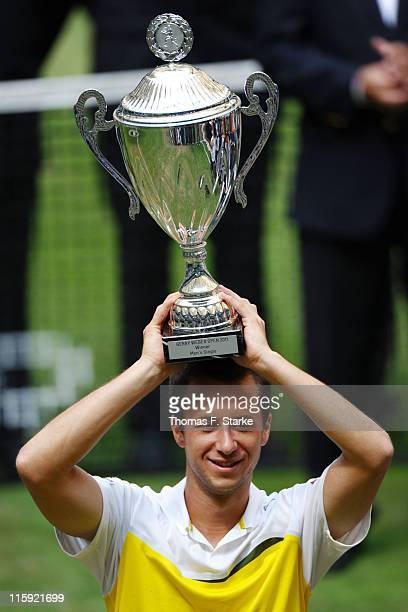 Philipp Kohlschreiber celebrates winning the Gerry Weber Open at the Gerry Weber stadium on June 12 2011 in Halle Germany