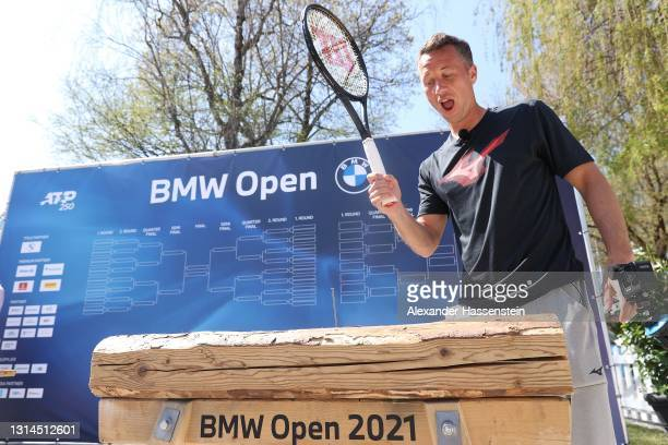 """Philipp Kohlschreiber of Germany attends the 'Bavarian Games"""" during day 2 of the BMW Open at MTTC IPHITOS on April 25, 2021 in Munich, Germany."""
