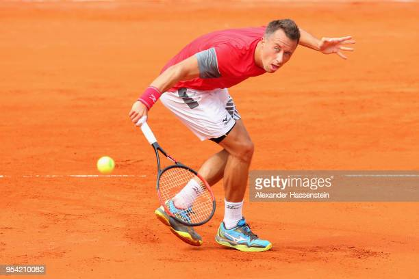 Philipp Kohlschreiber of Germany back hand a fore hand during his 2nd round match against Mischa Zverev on day 6 of the BMW Open by FWU at MTTC...