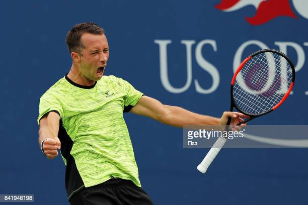 Philipp Kohlschreiber of Germany celebrates defeating John Millman of Australia during their third round Men's Singles match on Day Six of the 2017...