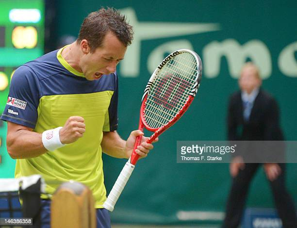 Philipp Kohlschreiber of Germany celebrates during his quarter final match against Rafael Nadal of Spain during day five of the Gerry Weber Open at...