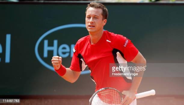 Philipp Kohlschreiber of Germany celebrates during the blue group match between Philipp Kohlschreiber of Germany and Mikhali Youzhny of Rusia during...