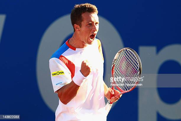 Philipp Kohlschreiber of Germany celebrates victory after his quarter final match against Marinko Matosevic of Australia at BMW Open at Iphitos...