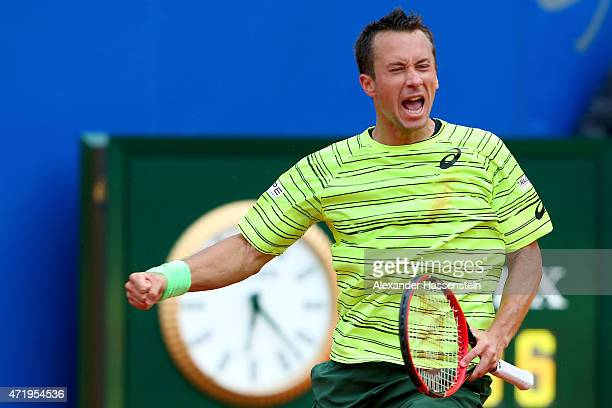 Philipp Kohlschreiber of Germany celebrates victory after winning his semi finale match against Gerald melzer of Austria during the BMW Open at...