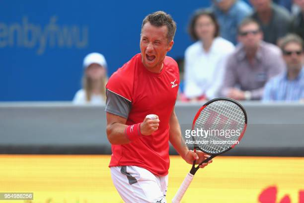 Philipp Kohlschreiber of Germany celebrates victory after winning his the semifinal match against Maximilian Marterer of Germany on day 8 of the BMW...