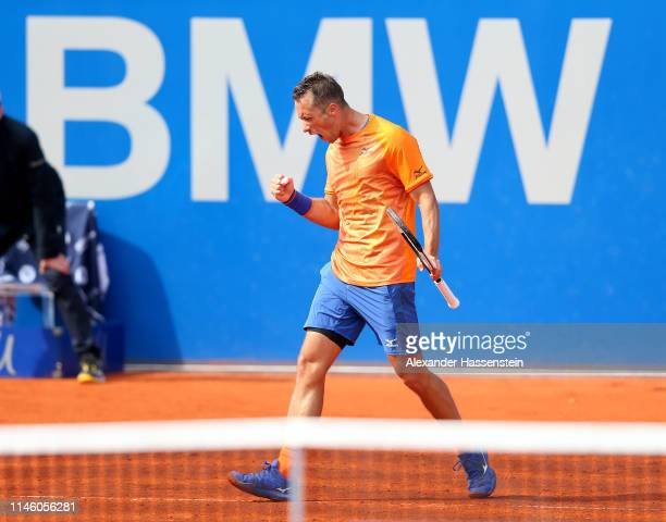Philipp Kohlschreiber of Germany celebrates winning a point during his first round match against Andreas Seppi of Italy day 4 of the BMW Open at MTTC...
