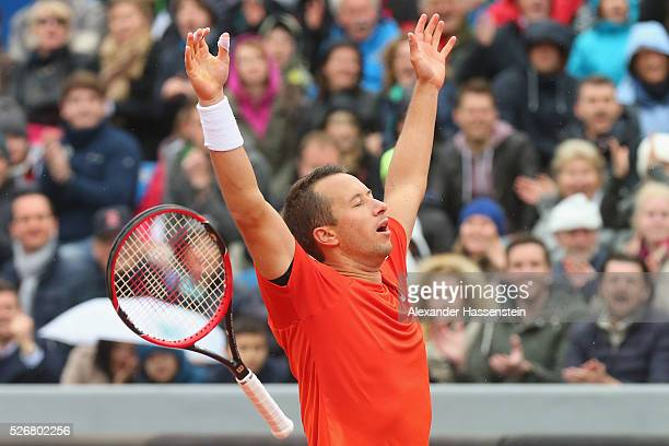 Philipp Kohlschreiber of Germany celebrates winning his finale match against Dominic Thiem of Austria of the BMW Open at Iphitos tennis club on May 1...