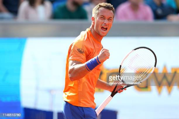 Philipp Kohlschreiber of Germany celebrates winning his firts round match against Karen Khachanov of Russia during day 6 of the BMW Open at MTTC...