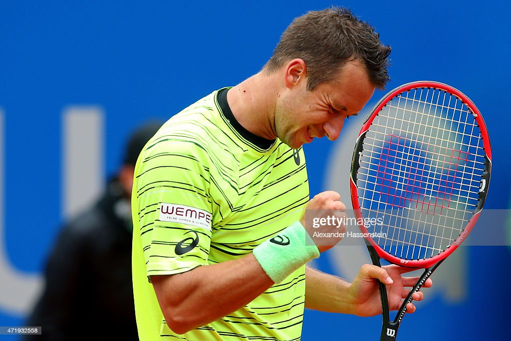 Philipp Kohlschreiber of Germany celebrates winning his quarter final match against David Goffin of Belgium at day 8 of the BMW Open at Iphitos tennis club on May 2, 2015 in Munich, Germany.