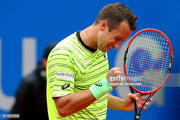 Philipp Kohlschreiber of Germany celebrates winning his quarter final match against David Goffin of Belgium at day 8 of the BMW Open at Iphitos...