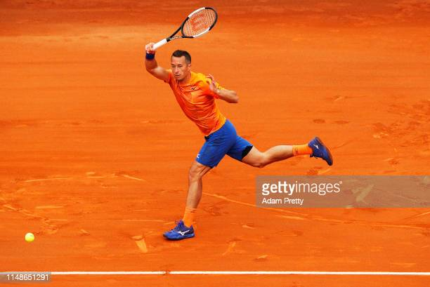 Philipp Kohlschreiber of Germany hits a forehand to Simon Gilles of France on day 1 of the Internazionali BNL d'Italia at Foro Italico on May 12 2019...