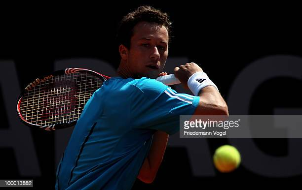 Philipp Kohlschreiber of Germany in action during his match against Viktor Troicki of Serbia during day five of the ARAG World Team Cup at the...