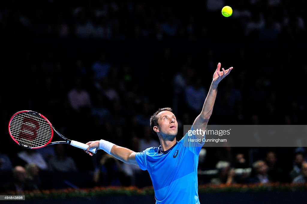 Philipp Kohlschreiber of Germany in action during the fourth day of the Swiss Indoors ATP 500 tennis tournament against Roger Federer of Switzerland at St Jakobshalle on October 29, 2015 in Basel, Switzerland.