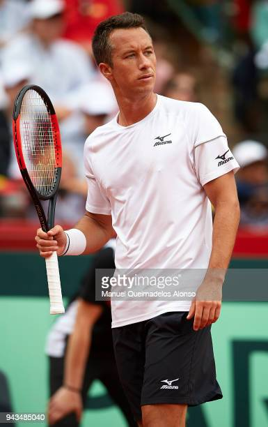 Philipp Kohlschreiber of Germany looks on during his match against David Ferrer of Spain during day three of the Davis Cup World Group Quarter Final...