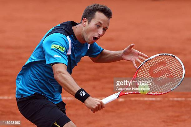 Philipp Kohlschreiber of Germany plays a back hand during his final match against Marino Cili of Croatia at BMW Open at Iphitos tennis club on May 6,...