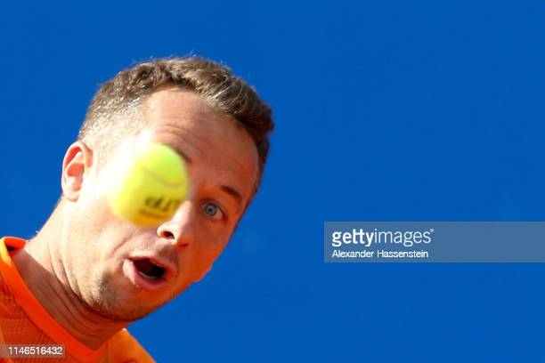 Philipp Kohlschreiber of Germany plays a back hand during his second round match against Karen Khachanov of Russia on day 6 of the BMW Open at MTTC...