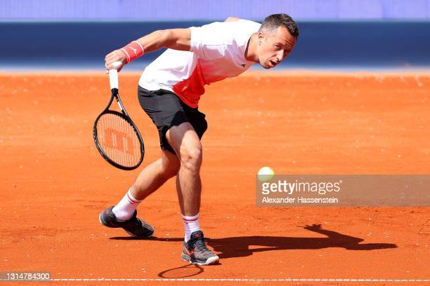 Philipp Kohlschreiber of Germany plays a backhand during his 1st round match against Dominik Koepfer of Germany on day 4 of the BMW Open at MTTC...