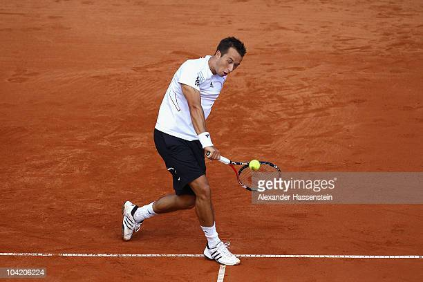 Philipp Kohlschreiber of Germany plays a backhand during his match against Rik de Voest of South Africa at the Davis Cup World Group Play-Off tie...