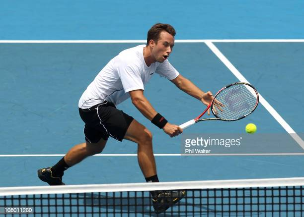 Philipp Kohlschreiber of Germany plays a backhand during his match against David Ferrer of Spain on day four of the Heineken Open at the ASB Tennis...