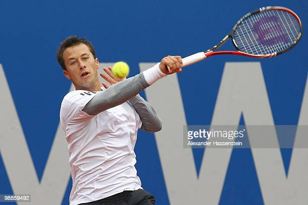 Philipp Kohlschreiber of Germany plays a backhand during his match against Daniel Brands of Germany at day 4 of the BMW Open at the Iphitos tennis...