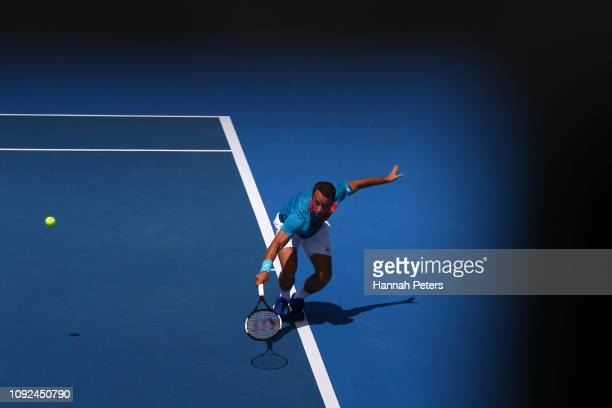 Philipp Kohlschreiber of Germany plays a backhand during his semi final match against Tennys Sandgren of USA during the 2019 ASB Classic at the ASB...