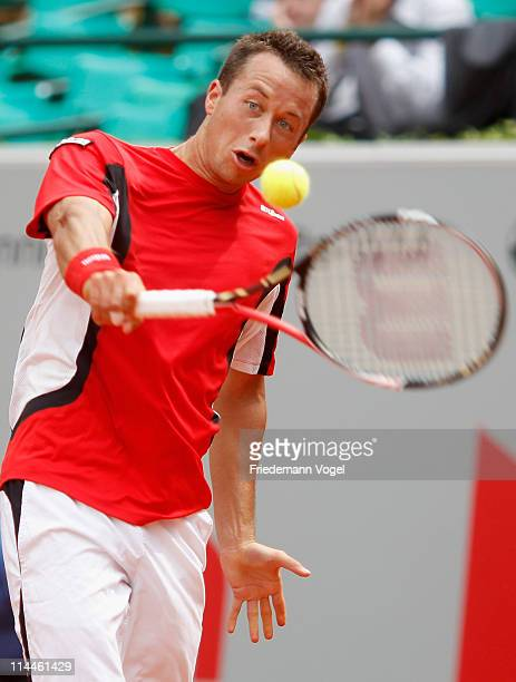 Philipp Kohlschreiber of Germany plays a backhand during the blue group match between Philipp Kohlschreiber of Germany and Mikhali Youzhny of Rusia...