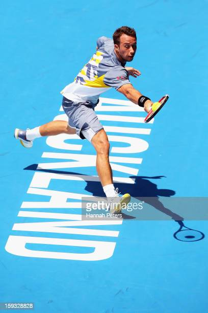 Philipp Kohlschreiber of Germany plays a backhand during the final agsinst David Ferrer of Spain during day six of the Heineken Open at ASB Tennis...