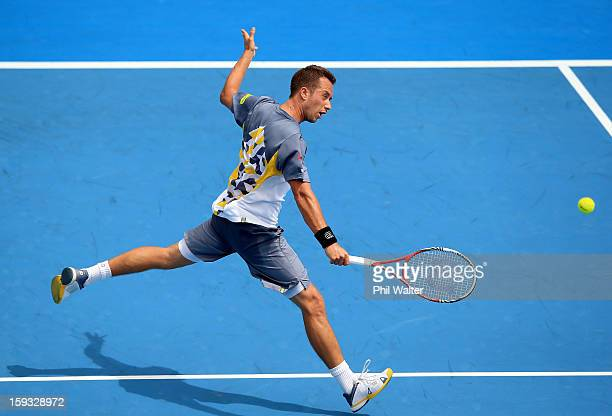 Philipp Kohlschreiber of Germany plays a backhand in his singles final against David Ferrer of Spain during day six of the Heineken Cup at ASB Tennis...