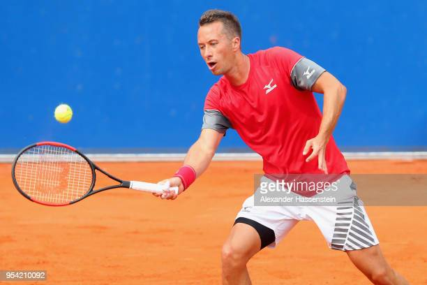 Philipp Kohlschreiber of Germany plays a fore hand during his 2nd round match against Mischa Zverev on day 6 of the BMW Open by FWU at MTTC IPHITOS...