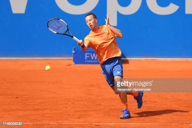 Philipp Kohlschreiber of Germany plays a fore hand during his first round match against Andreas Seppi of Italy day 4 of the BMW Open at MTTC IPHITOS...