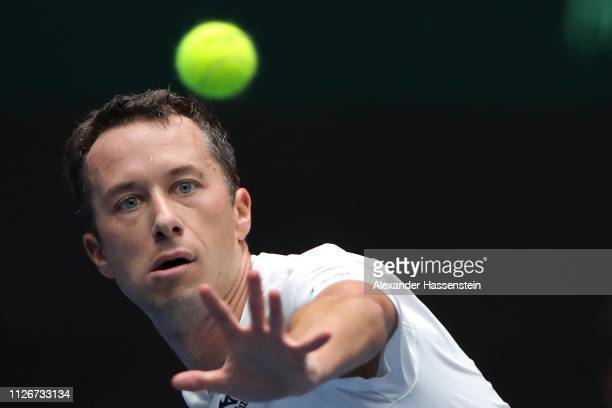 Philipp Kohlschreiber of Germany plays a fore hand during his match against Zsombor Piros of Hungary in the Davis Cup qualifiers round 2019 between...