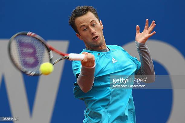 Philipp Kohlschreiber of Germany plays a fore hand during his match against Santiago Ventura of Spain at day 5 of the BMW Open at the Iphitos tennis...
