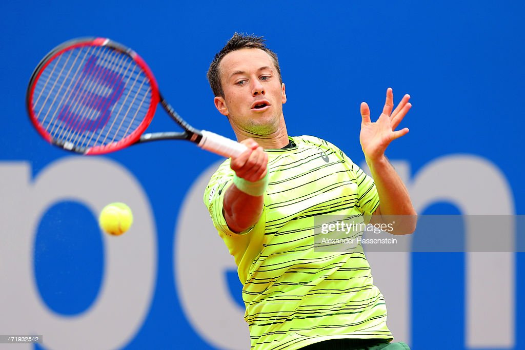Philipp Kohlschreiber of Germany plays a fore hand during his quarter final match against David Goffin of Belgium at day 8 of the BMW Open at Iphitos tennis club on May 2, 2015 in Munich, Germany.