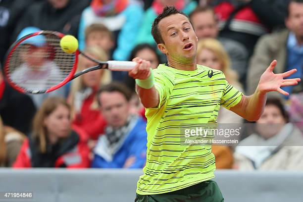 Philipp Kohlschreiber of Germany plays a fore hand during his semi finale match against Gerald Melzer of Austria of the BMW Open at Iphitos tennis...