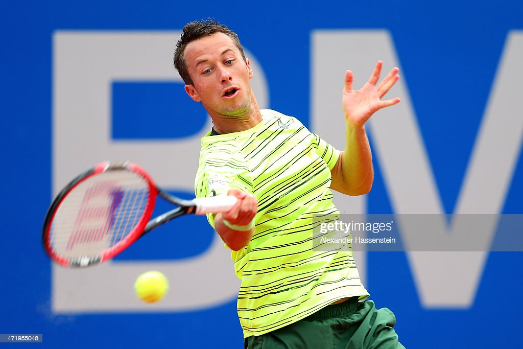 Philipp Kohlschreiber of Germany plays a fore hand during his semi finale match against Gerald Melzer of Austria of the BMW Open at Iphitos tennis club on May 2, 2015 in Munich, Germany.