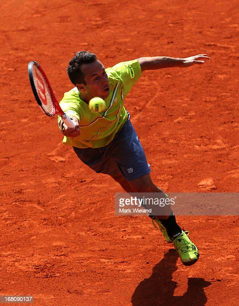 Philipp Kohlschreiber of Germany plays a forehand against Tommy Haas of Germany during the Final of the BMW Open at Iphitos tennis club on May 5,...