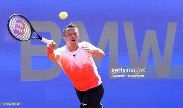 Philipp Kohlschreiber of Germany plays a forehand during his 1st round match against Dominik Koepfer of Germany on day 4 of the BMW Open at MTTC...