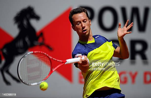 Philipp Kohlschreiber of Germany plays a forehand during his match against Janko Tipsarevic of Serbia during day six of Power Horse World Team Cup at...