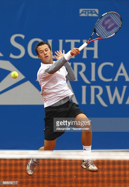 Philipp Kohlschreiber of Germany plays a forehand during his match against Daniel Brands of Germany at day 4 of the BMW Open at the Iphitos tennis...