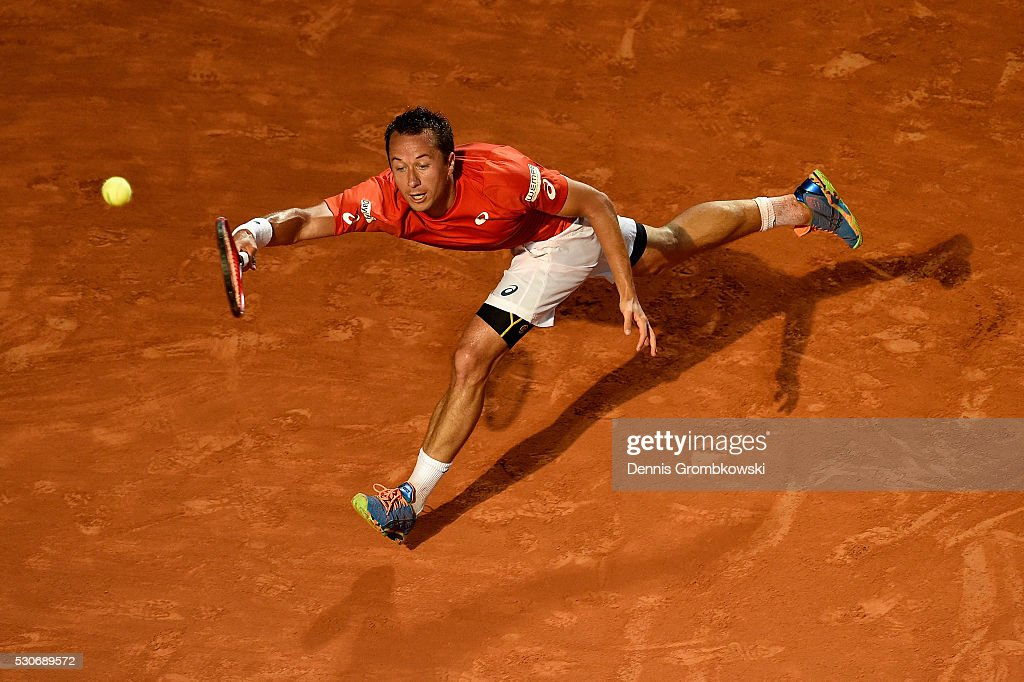 Philipp Kohlschreiber of Germany plays a forehand in his match against Rafael Nadal of Spain on Day Four of The Internazionali BNL d'Italia on May 11, 2016 in Rome, Italy.