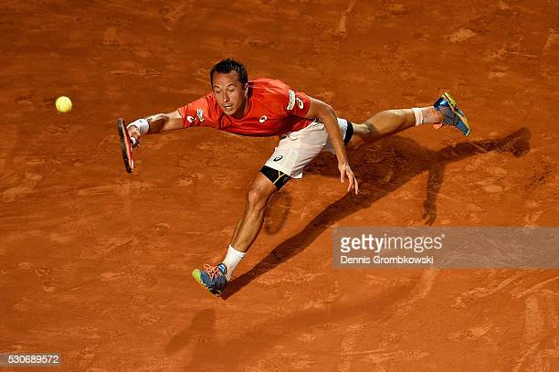 Philipp Kohlschreiber of Germany plays a forehand in his match against Rafael Nadal of Spain on Day Four of The Internazionali BNL d'Italia on May 11...