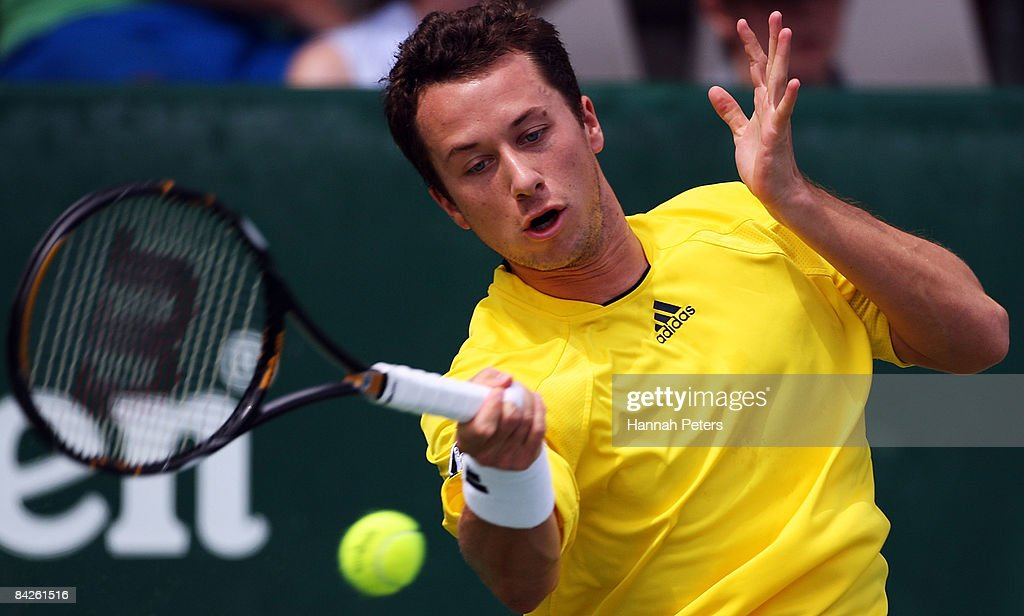 Philipp Kohlschreiber of Germany plays a forehand in his match against Dominik Hrbaty of Slovakia during day two of the Heineken Open at ASB Tennis Centre on January 13, 2009 in Auckland, New Zealand.