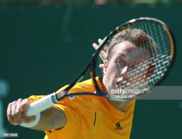 Philipp Kohlschreiber of Germany plays a shot against Juan Carlos Ferrero of Spain in the singles final on day 6 of the Heineken Open in Auckland 12...